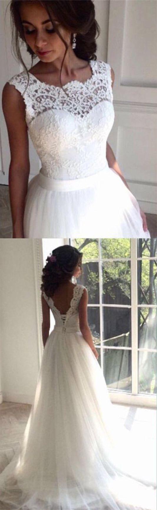 white lace wedding dress cheapest wedding dresses Simple Wedding Dress Charming wedding dress lace wedding dress Tulle White wedding dress cheap wedding gown bridal wedding dress sold by SIMIBRIDALDRESS