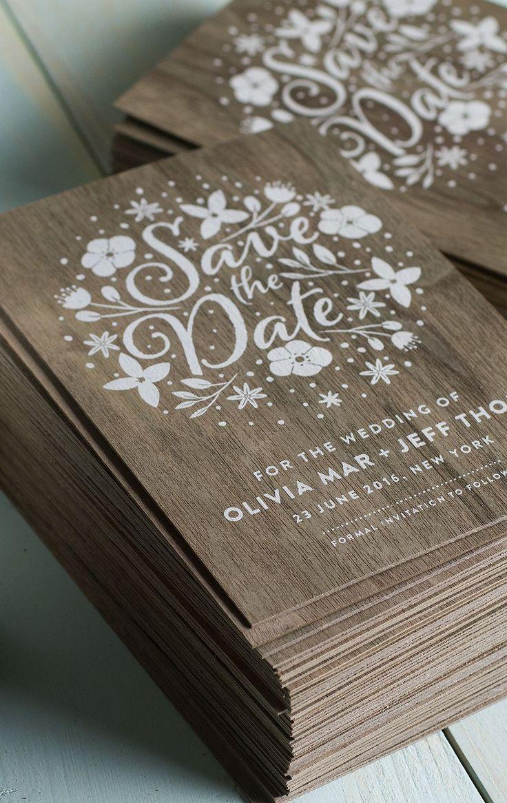wood wedding invitations wedding invitations printing Stunning wedding invites produced on real wood with white printing Jukeboxprint