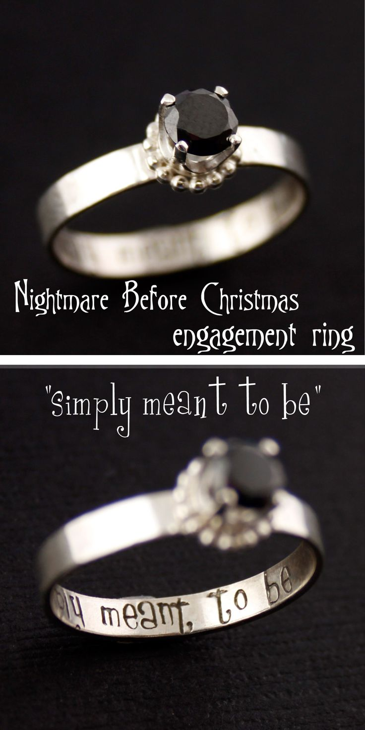 geek wedding rings gamer wedding rings Nightmare Before Christmas Simply Meant to Be Engagement Ring from Spiffing Jewelry