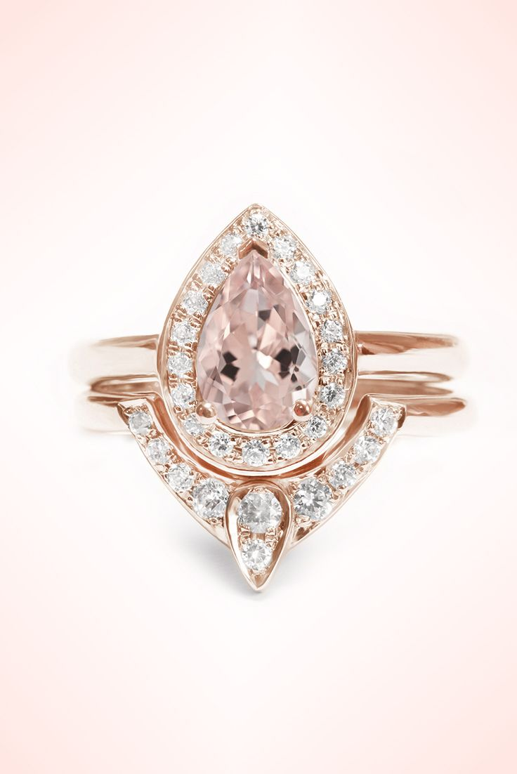 morganite wedding ring set Pear Morganite Engagement Ring with Matching Side Diamond Band The 3rd Eye Engagement and Wedding Ring Set 14K White Gold Wedding Wedding ring and
