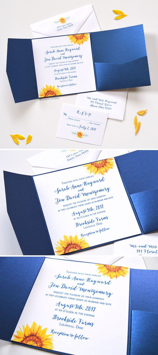 sunflower wedding invitations fall wedding invitations Watercolor Sunflower Blooms Pocket Folder Invitations perfect for a fall wedding Now