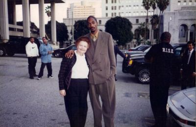 Just a picture of my friend's grandmother with Snoop Dogg outside of the courthouse during his ...