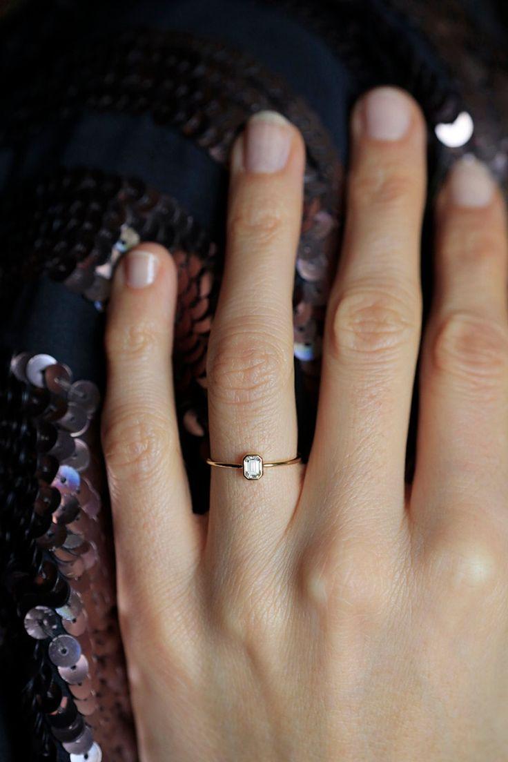 dainty ring dainty wedding bands dainty emerald cut diamond ring