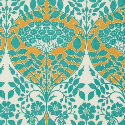 LEAFY DAMASK in Teal and Mustard (pwJD088) - Botanique - Joel Dewberry - Free Spirit Fabric - By ...