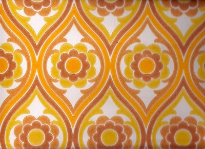 Vintage 1970s Wallpaper - Brown Funky Flower - Price per yard. $14.00, via Etsy. | Retro/Vintage ...