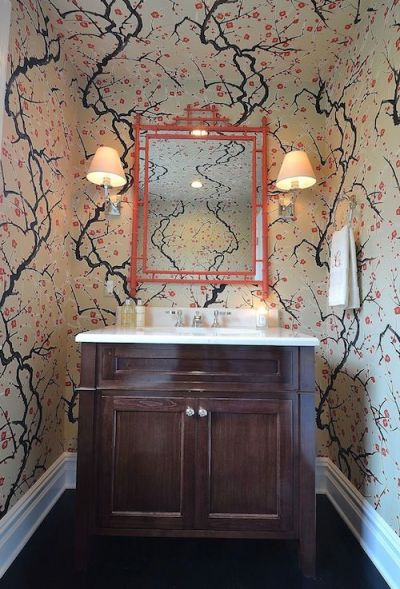 Powder Room - Small powder room with a big bang.....over the top wall covering, glass sink and ...