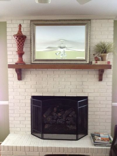 18 best images about White Brick Fireplace on Pinterest | Wood mantels, Hearth and Wooden shelves
