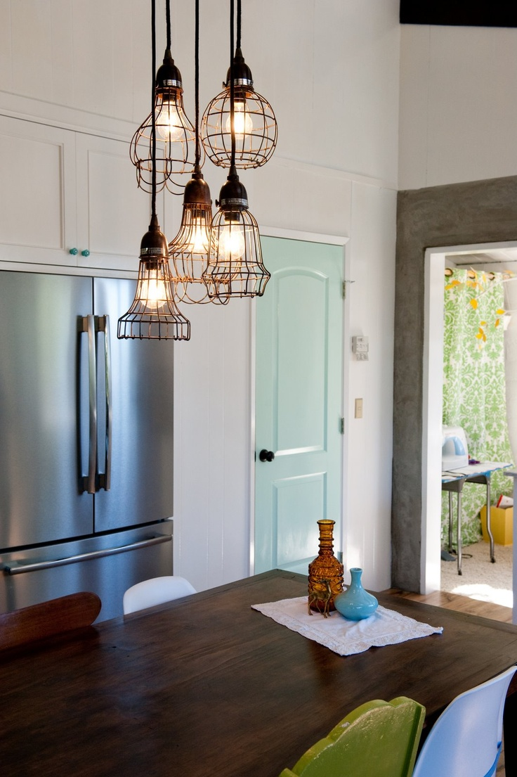 industrial chic lighting kitchen lights over table Cute I like the idea of another color pantry door we can replace your doors with a door like this cute And I like the lamps