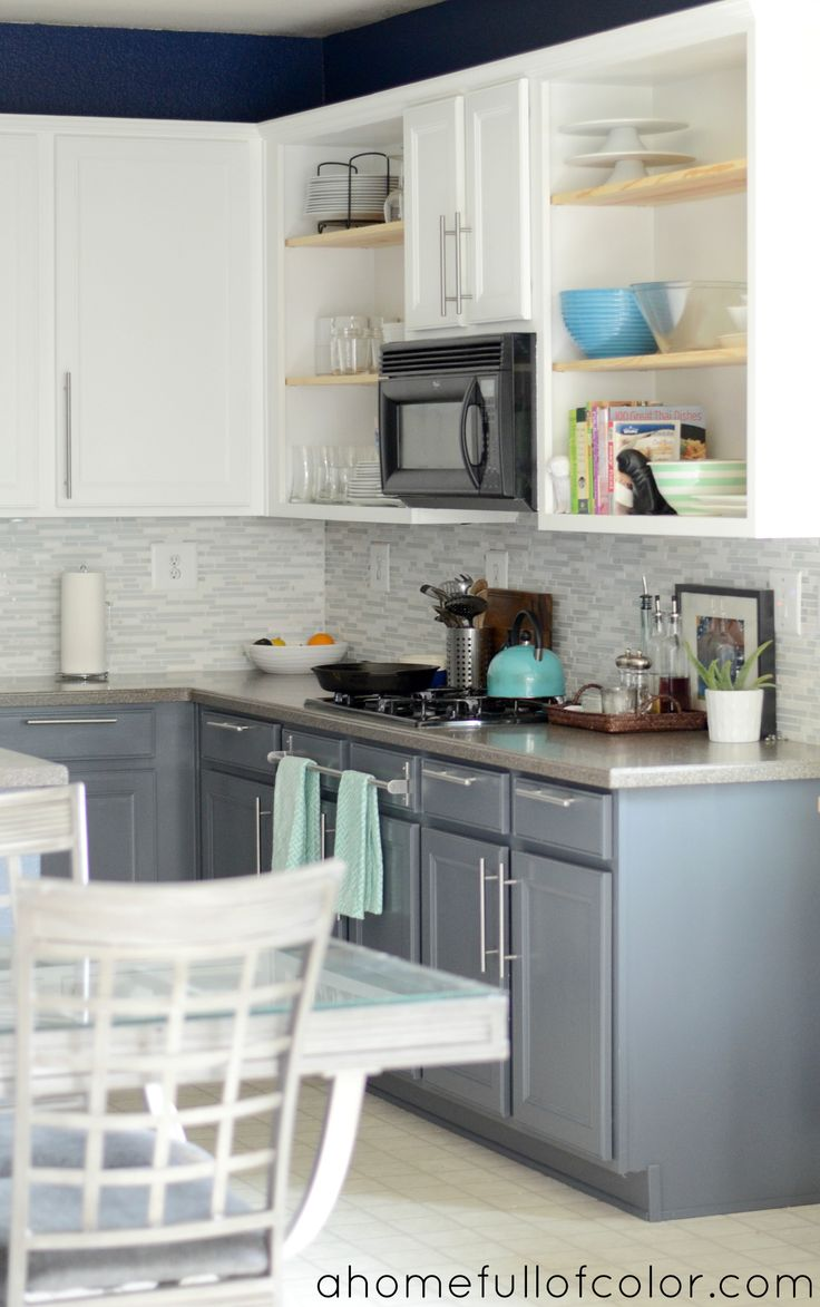 turquoise with citron two tone kitchen cabinets Painted Two Tone Kitchen Cabinets White Uppers and Gray Lowers Benjamin Moore Simply White