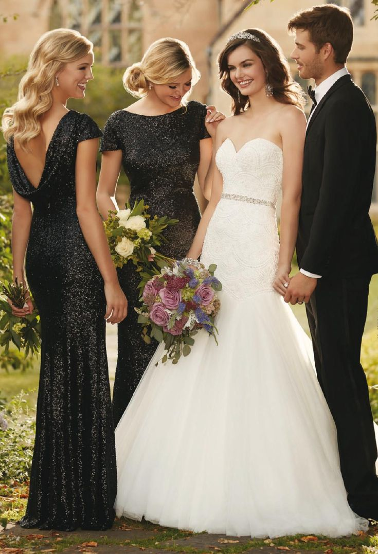 black and white wedding ideas black wedding dresses Elegant Black Bridesmaid Dresses are the perfect combination with a bride in white