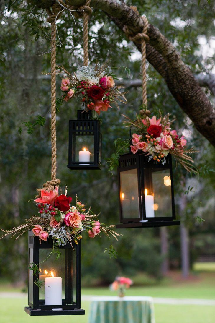 garden wedding decorations cheap wedding decorations Pink Flower Decorated Hanging Lantern Wedding Decor Hopkins Studios https www