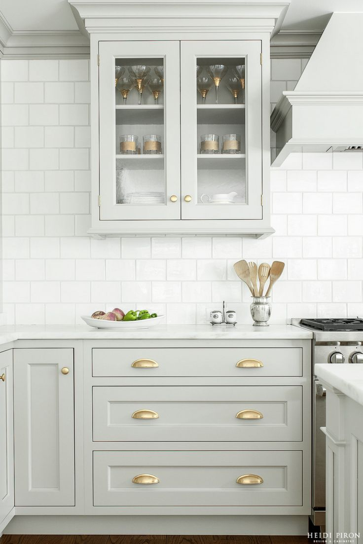 inset cabinets kitchen cabinets white Look We Love Gray Kitchen Cabinets with Brass Hardware