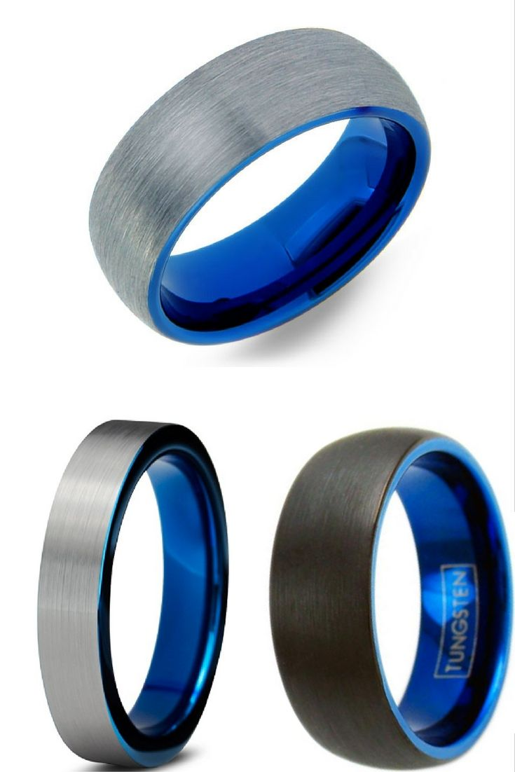 unique mens wedding bands male wedding bands Mens Blue Brushed Tungsten Wedding Band With Blue Interior I love these mens wedding bands