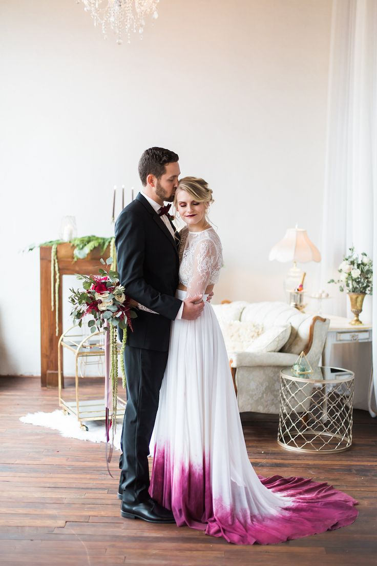 dipped wedding dress colorful wedding dress Dare To Be Dapper With Generation Tux Ombre Wedding DressCactus