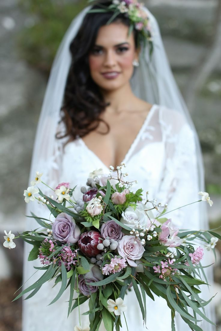 lavender bridal bouquets lavender wedding dress Lovely Lavender Bridal Bouquet for a Romantic Outdoor Wedding with Vintage Boho Elegance from Flora Fetish