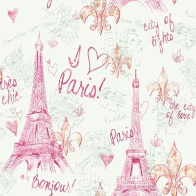 Pink Paris Sketch Wallpaper | For my girls... | Pinterest ...