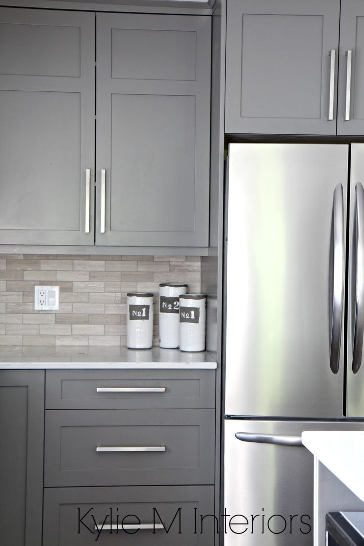 kitchen cabinets kitchen cabinets design Kitchen cabinets painted Benjamin Moore Amherst Gray driftwood marble backsplash with stainless steel Design