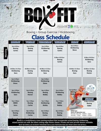 Classes Schedule for FINEST FITNESS! BoxFit – A Workout ...