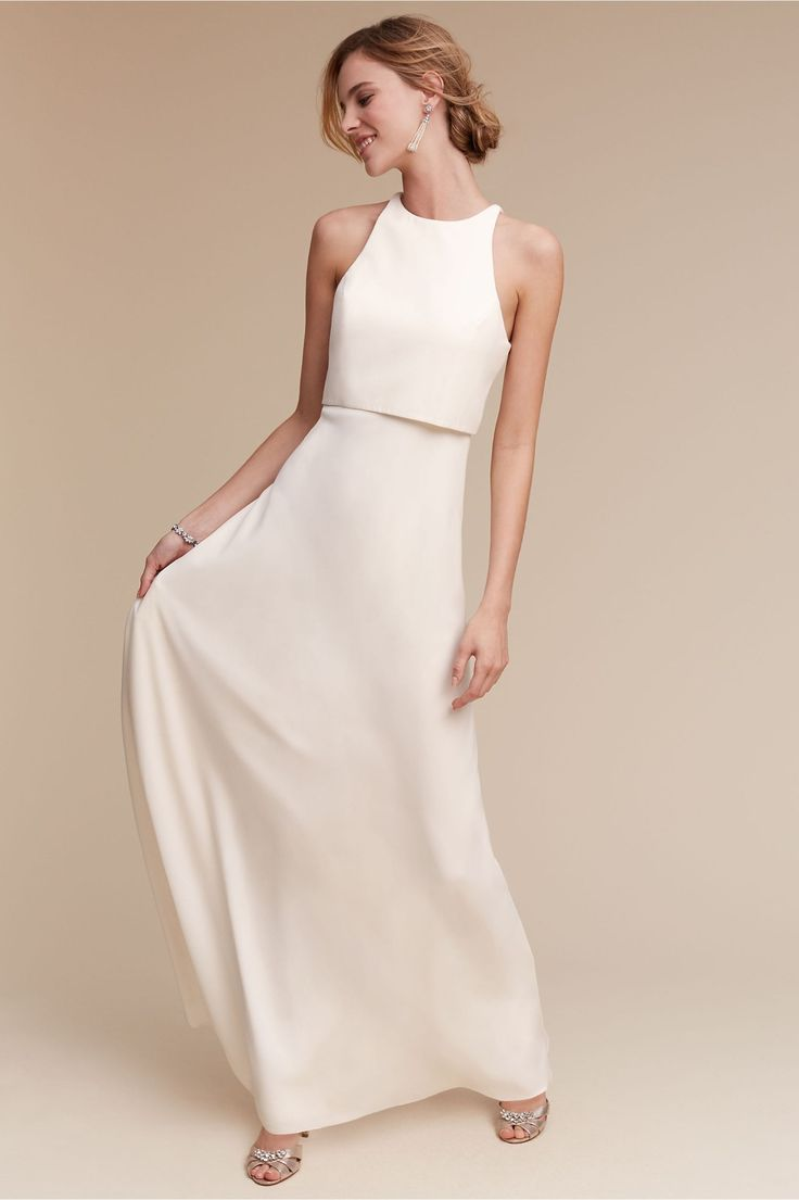 maxi dress wedding dress for wedding party for the minimalists Iva Crepe Maxi in Ivory from BHLDN Dress PartyParty