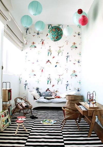 1000+ ideas about Kids Room Wallpaper on Pinterest | Chic nursery, Baby girl wallpaper and ...