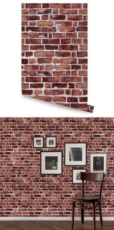 Brick Red Peel and Stick Wallpaper - Wall Sticker Outlet | Peel And Stick Wallpaper | Pinterest ...