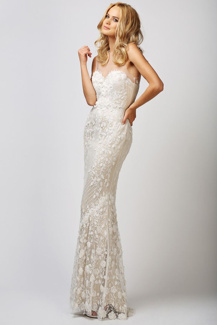 bb bridal collection wedding dress shop online BABUSHKA BALLERINA Catherine Deane Ashton Gown Illustion neckline Two toned lace bridal gown