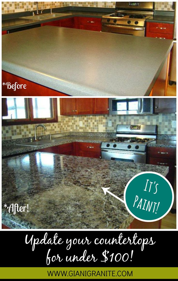 kitchen counter top cheap kitchen countertops Affordable countertop makeover Paint that looks like granite DIY www gianigranite
