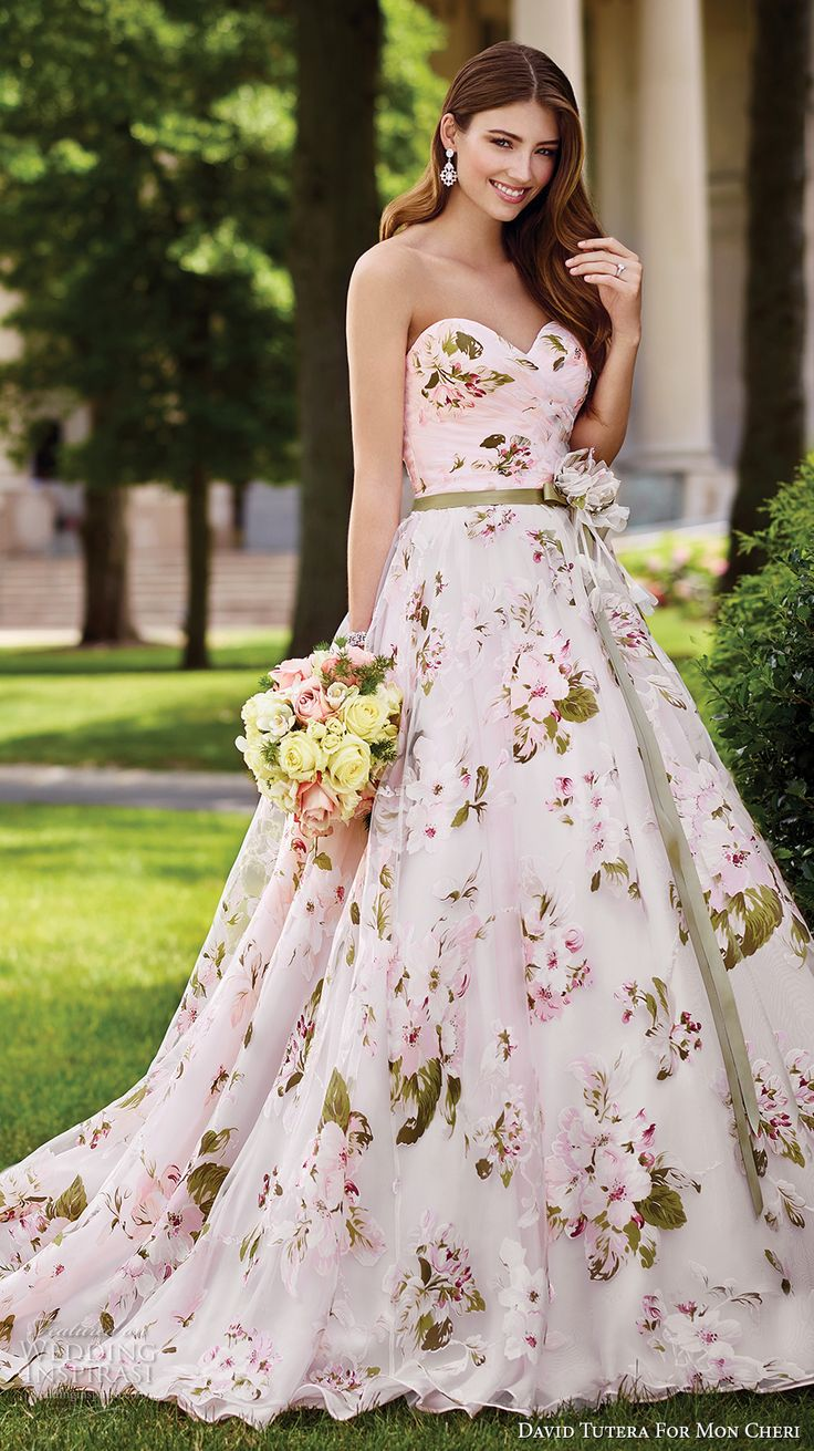 colored wedding dresses evening gowns cocktail dre colorful wedding dress David Tutera for Mon Cheri Spring Wedding Dresses