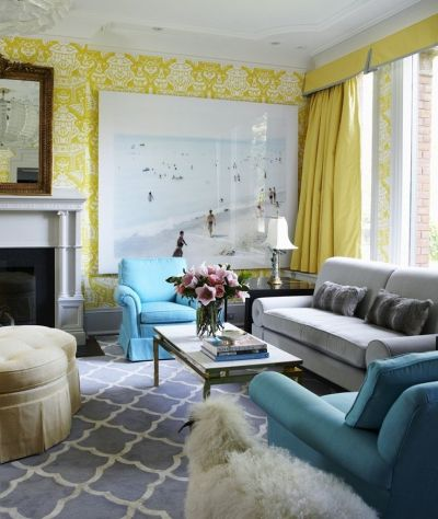 coral yellow green with gray couch | yellow damask wallpaper living room blue carpet rug sofa ...