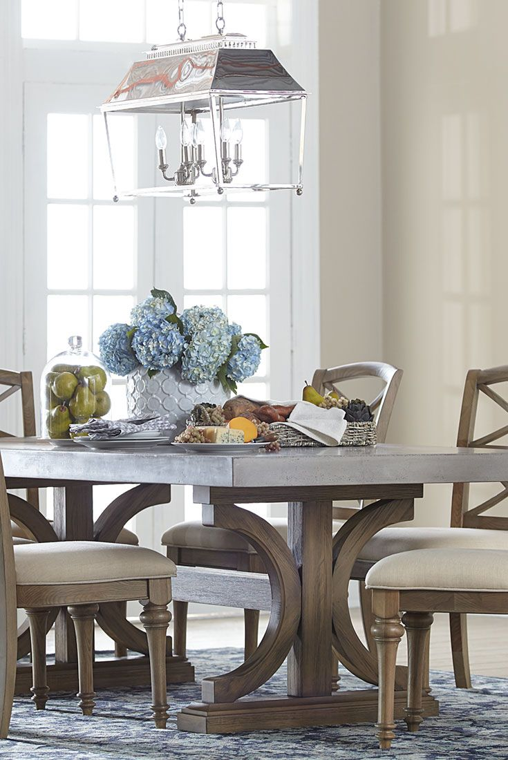 havertys furniture havertys kitchen tables Our Lakeview rectangle dining table has a concrete top double pedestal base and a driftwood