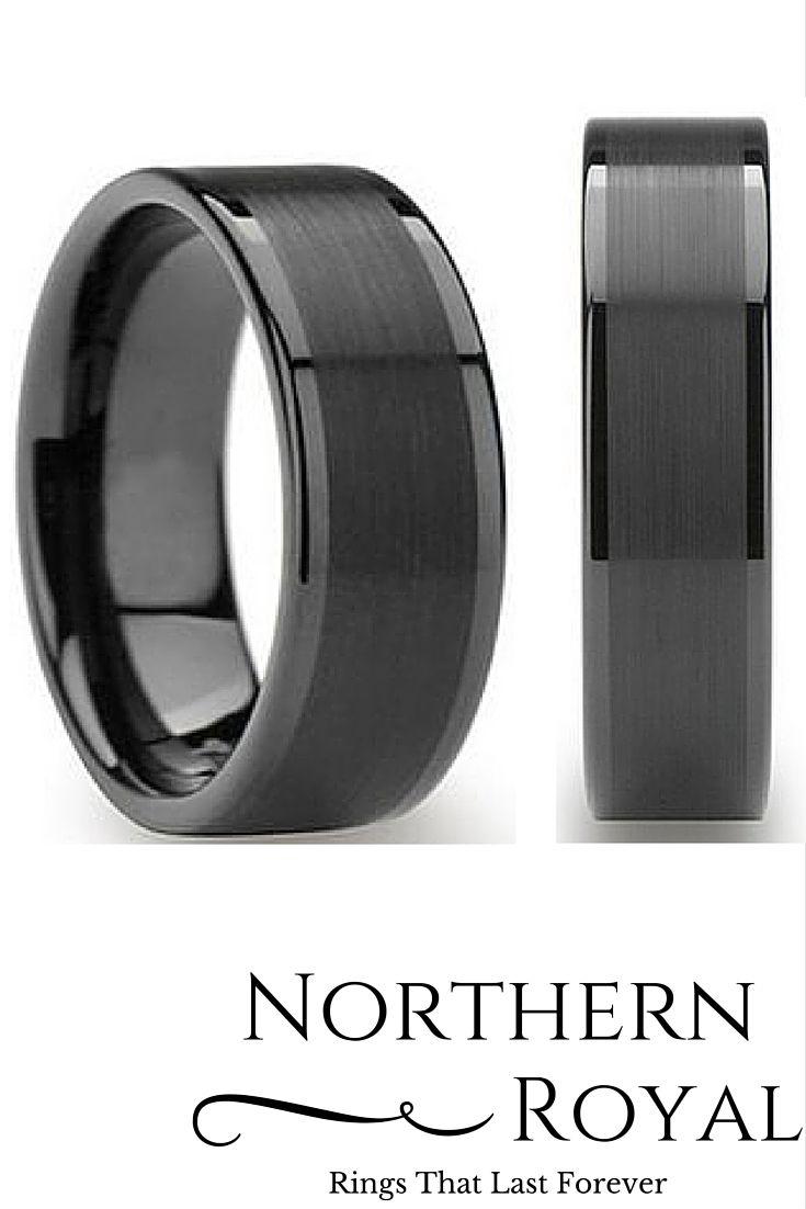 tungsten wedding bands tungsten hammered wedding band Mens 8mm Black Tungsten Wedding Ring with a Brushed Center
