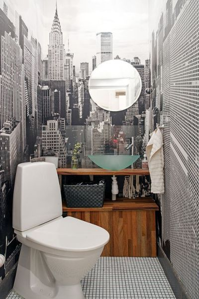 17 Best ideas about Small Bathroom Wallpaper on Pinterest   Half bathroom wallpaper, Bathroom ...