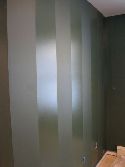 paint a wall in flat paint, then paint stripes in same ...