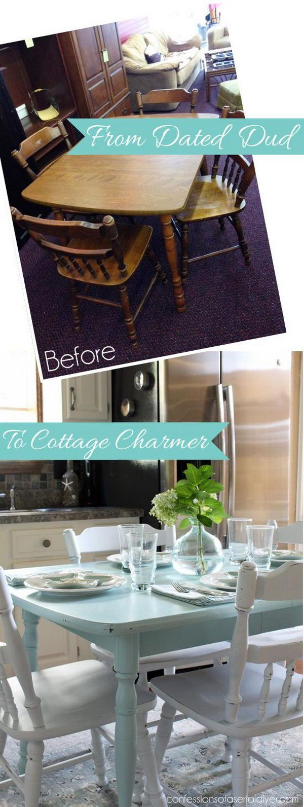 painted tables painted kitchen tables Fantistic DIY Shabby Chic Furniture Ideas Tutorials Refinishing Kitchen TablesFurniture RefinishingFurniture MakeoverPainting