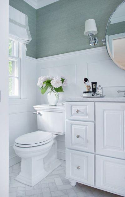 25+ best Bathroom Wallpaper ideas on Pinterest | Half bathroom wallpaper, Powder room and Powder ...