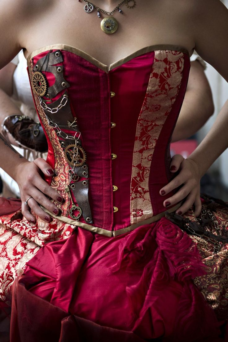 steampunk wedding dress steampunk wedding dresses The red dress at this theatrical steampunk wedding is LIFE