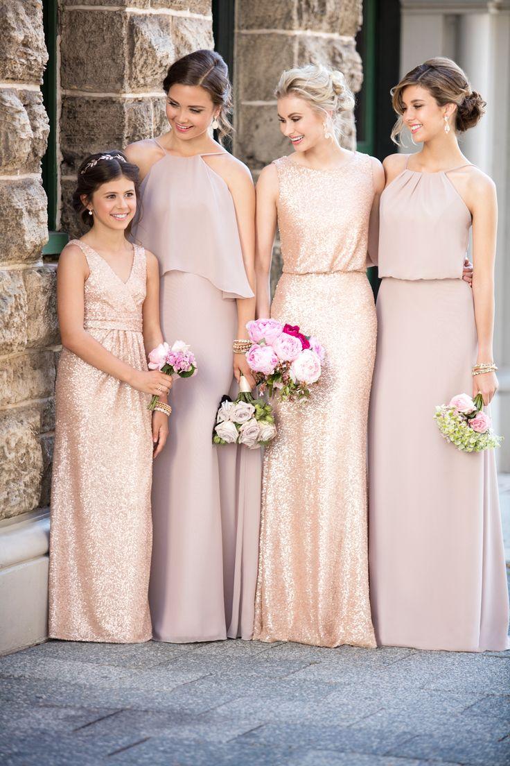 taupe bridesmaid beige wedding dresses Sorella Vita Vintage Rose and Sequin Bridesmaid Dresses