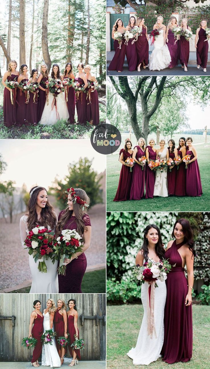 burgundy wedding colors burgundy wedding dresses Burgundy bridesmaid dresses have been popular for autumn wedding A burgundy bridesmaid dress can actually