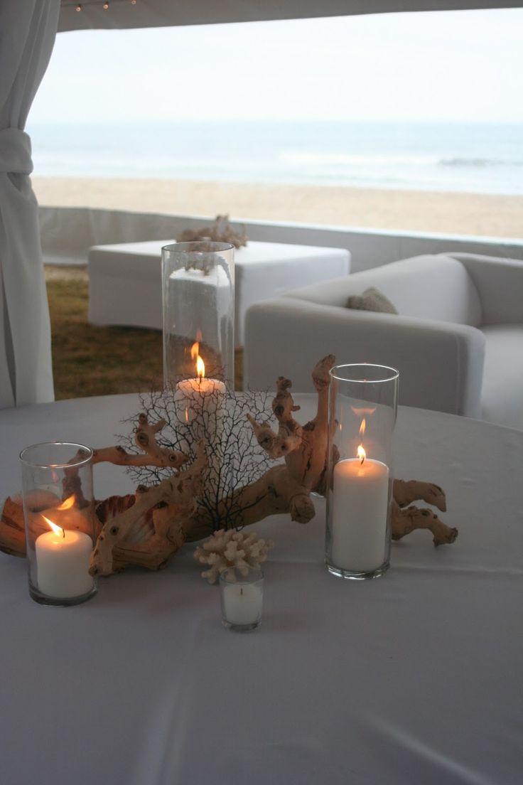 beach wedding centerpieces centerpieces for wedding Coral Beach Wedding Centerpieces Driftwood Coral Centerpiece Sandbridge Virginia Beach Isha Foss Events