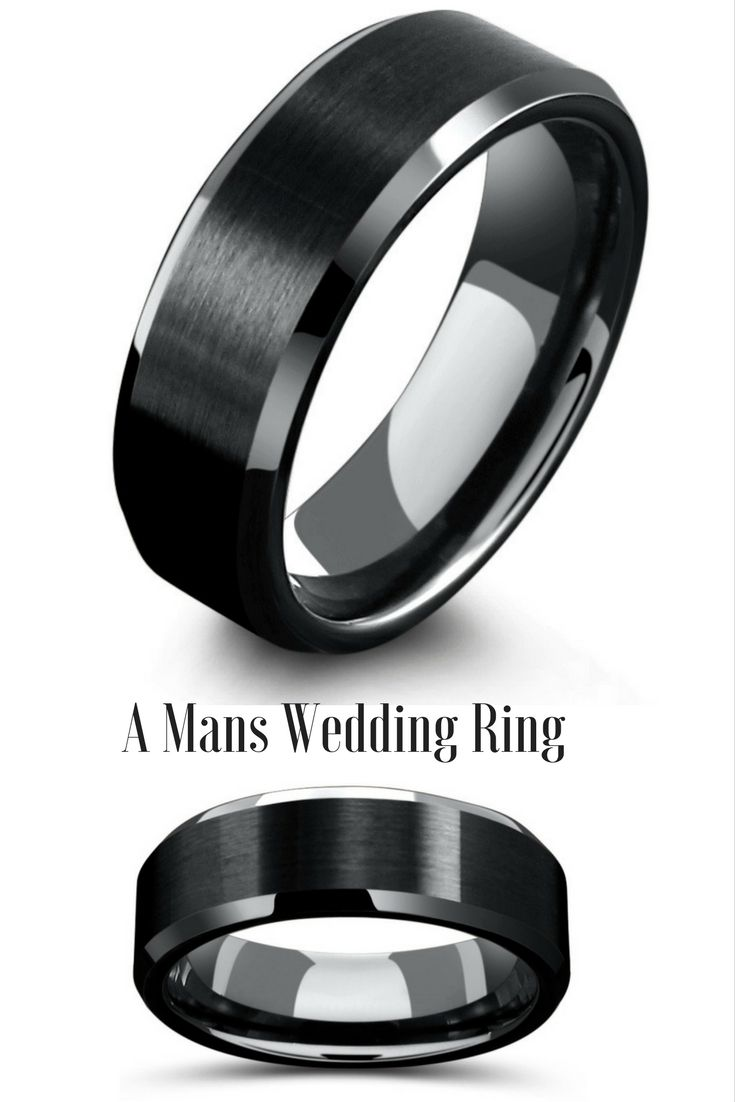 black tungsten wedding bands black mens wedding bands 8mm Mens Black Tungsten Wedding Ring With Matte Center