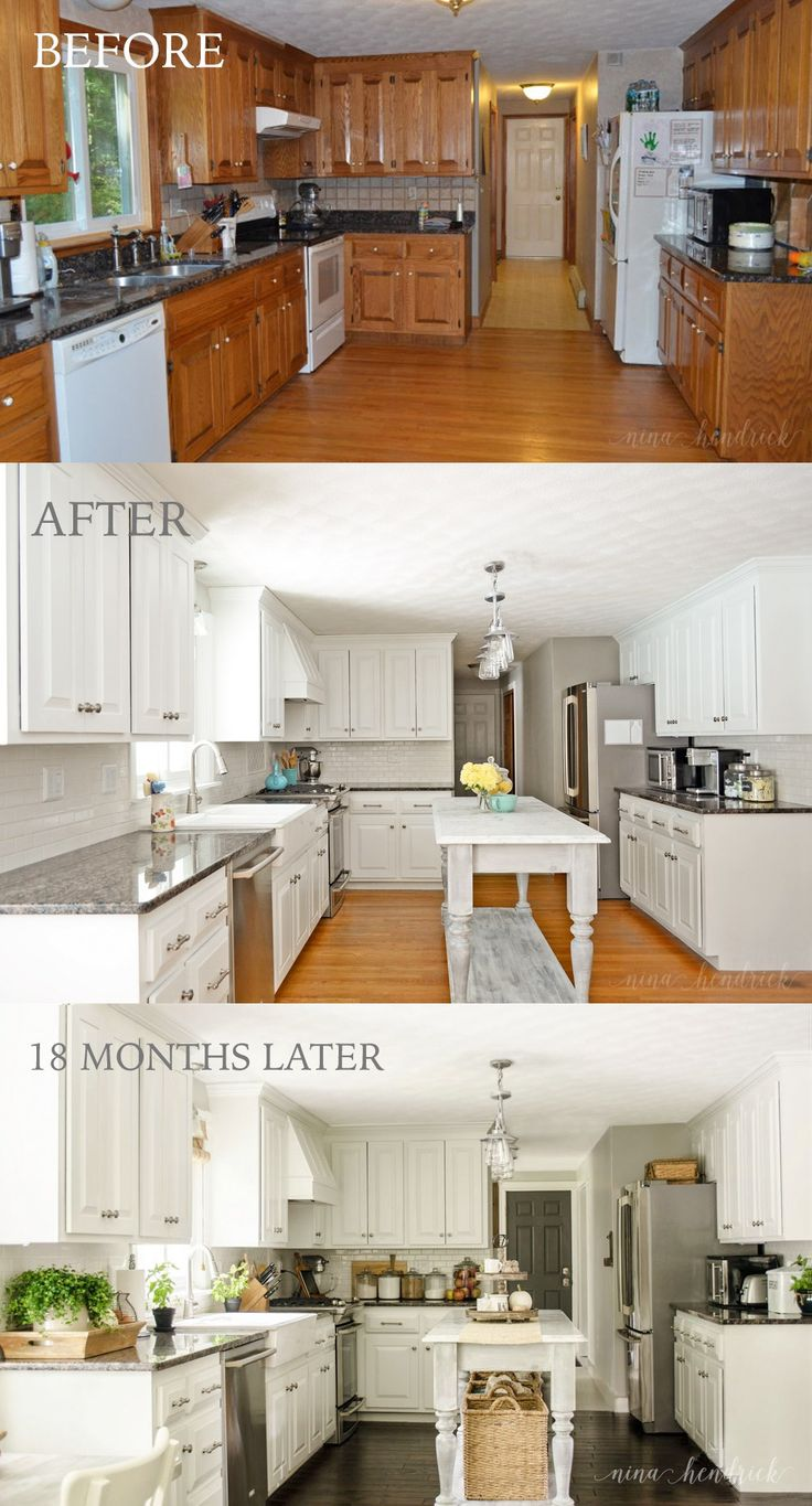 painted oak cabinets paint kitchen cabinets white How We Painted Our Oak Cabinets and Hid the Grain