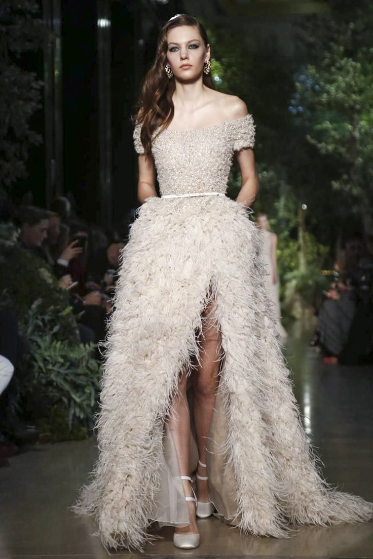 feather dress wedding dress with feathers Beautiful ostric feather wedding dress witih a high front slit by Elie Saab Couture Spring Summer
