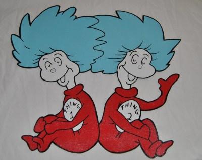 Dr Seuss Thing 1 Thing 2 wallpaper mural room decor | Clip art, Art and Dr. seuss