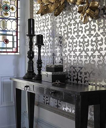 25+ best ideas about Mirrored wallpaper on Pinterest   Powder room mirrors, Half bathroom ...
