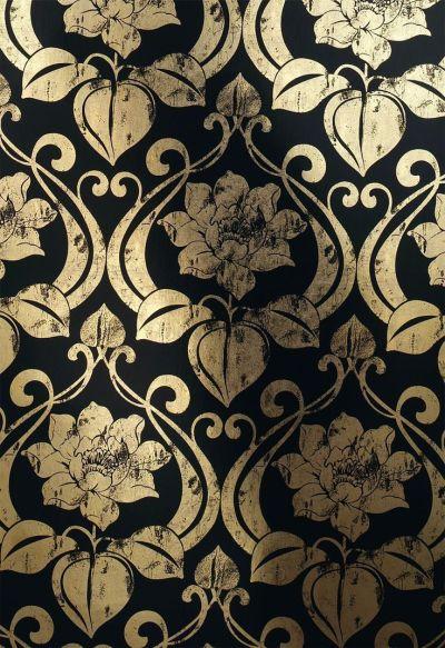 metal wallpaper with art nouveau pattern 1766-15 --- embroidery outline?---   Pauper Princess ...