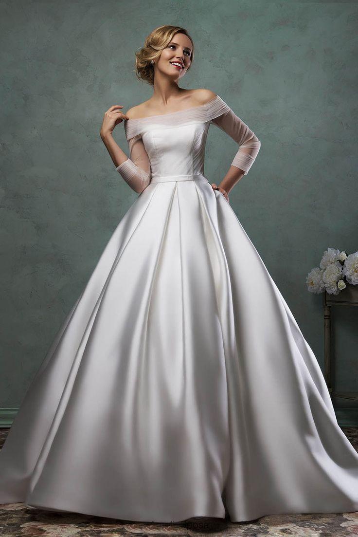 bateau wedding dress dress for a wedding Bateau Neck Long Sheer Sleeves Simple Satin Ball Gown Wedding Dress