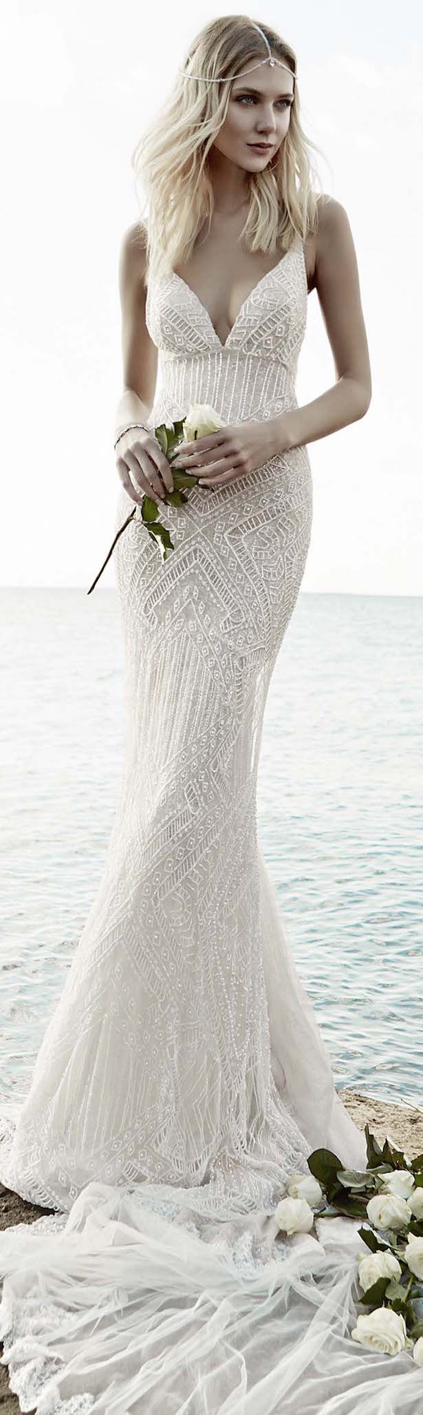 bohemian beach wedding beachy wedding dresses Victoria KyriaKides Bridal Fall Floral Constellations Vintage Lace Wedding DressesBeach