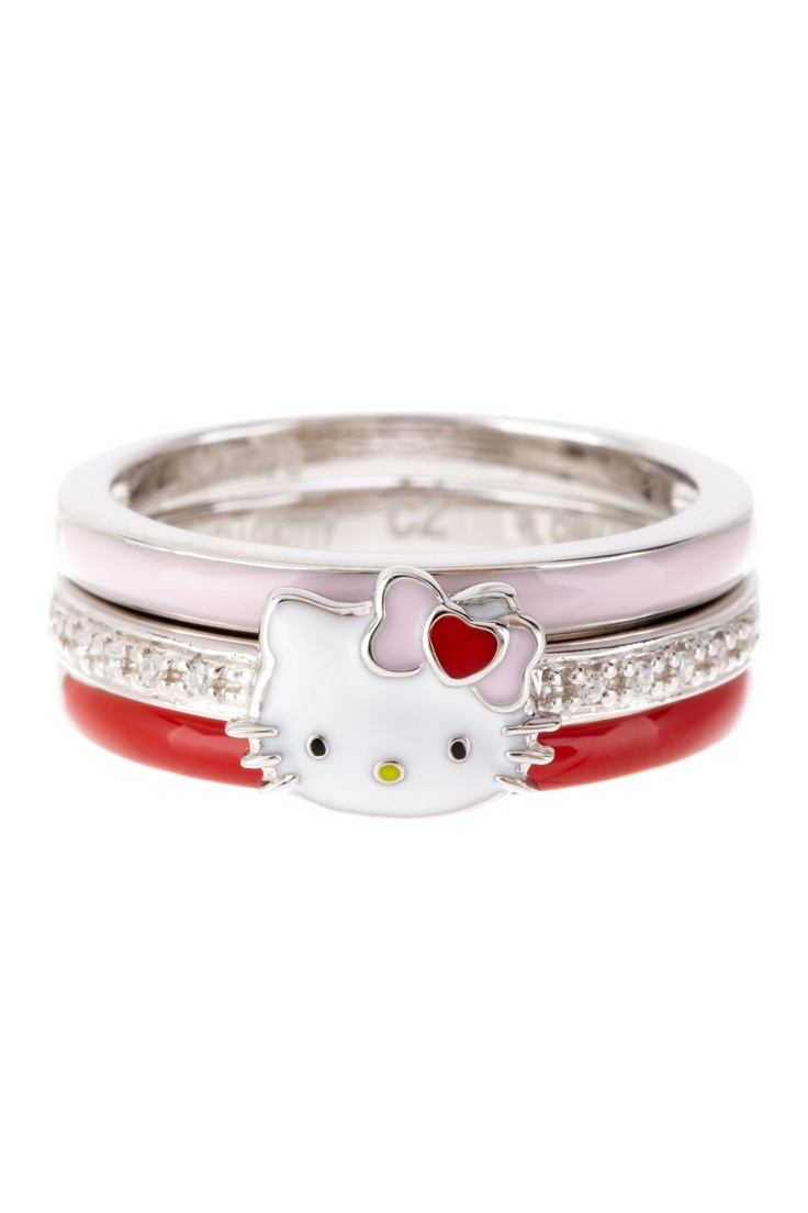 hello kitty jewelry hello kitty wedding ring Hello Kitty by Simmons Jewelry Co Sterling Silver Hello Kitty Stack Ring Set
