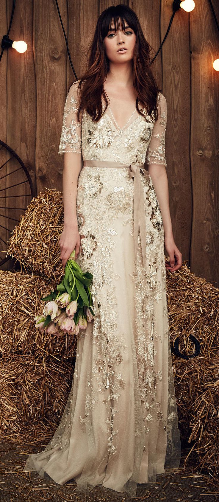 gypsy wedding dresses beige wedding dresses Celadon Green Hits the Runway at Jenny Packham s Gypsy Inspired Spring Show Beige Wedding DressChampagne