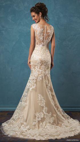 lace back wedding dress sheer lace wedding dress Amelia Sposa Wedding Dresses